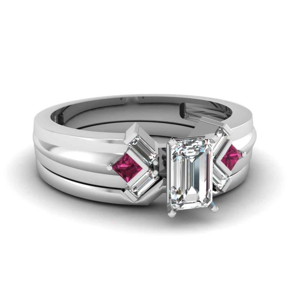 Serenity elegance set fascinating diamonds for Emerald cut diamond wedding ring sets