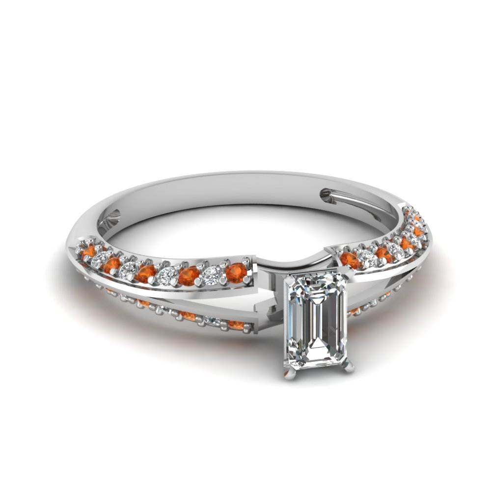 Emerald Diamond Engagement Ring With Orange Sapphire