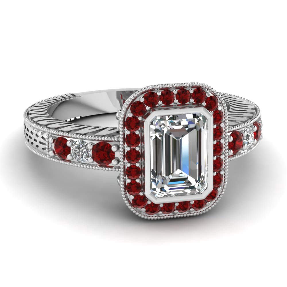 Big Emerald Cut Diamond Halo Ruby Ring