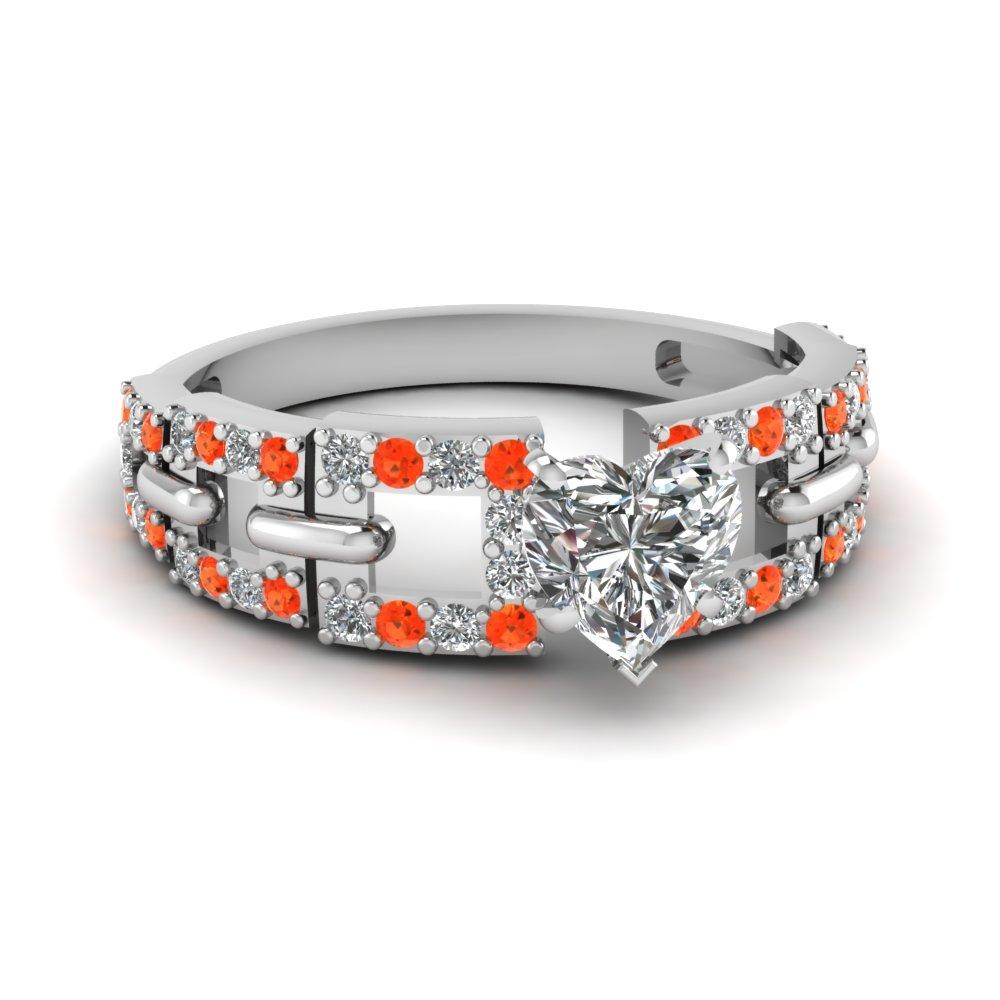 Heart Shaped Orange Topaz Side Stone Engagement Ring