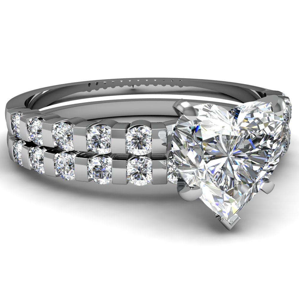 Heart Shaped Diamond Engagement Rings With White Diamonds In 14k White Gold