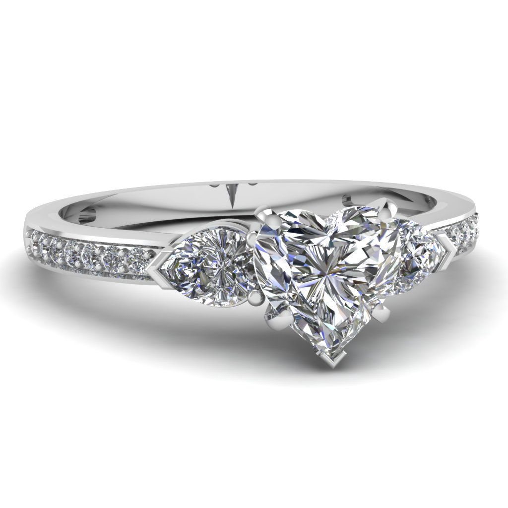 white gold heart white diamond engagement wedding ring in micro pave