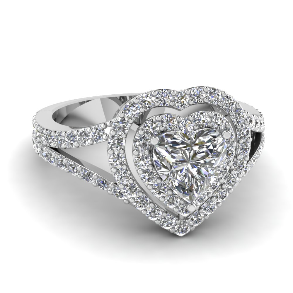 Double Halo Heart Ring Fascinating Diamonds
