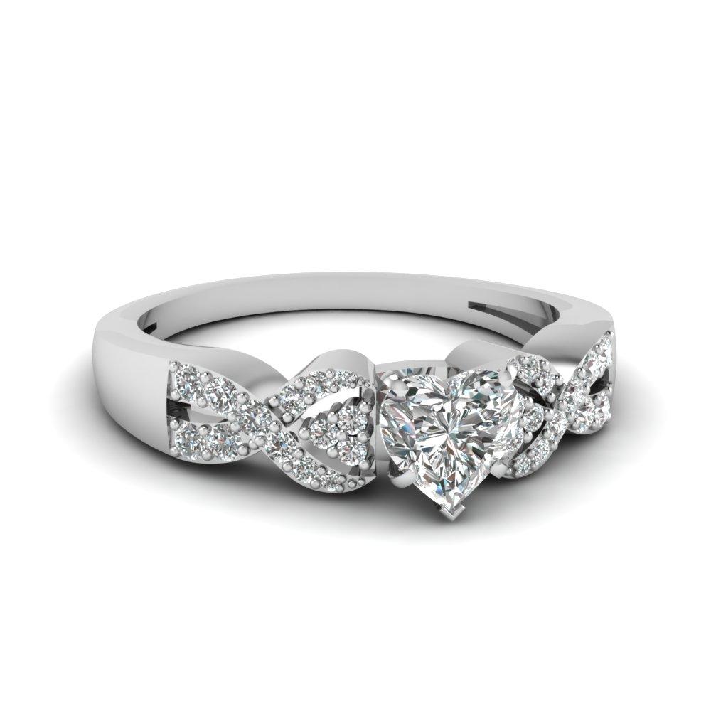 Heart Shaped Diamond White Gold Twist Engagement Ring