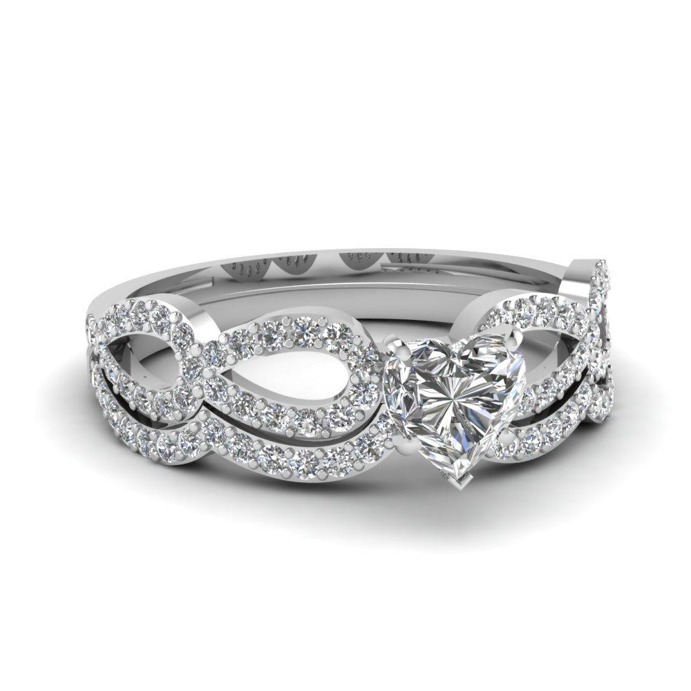 Heart Shaped Wedding Diamond Set