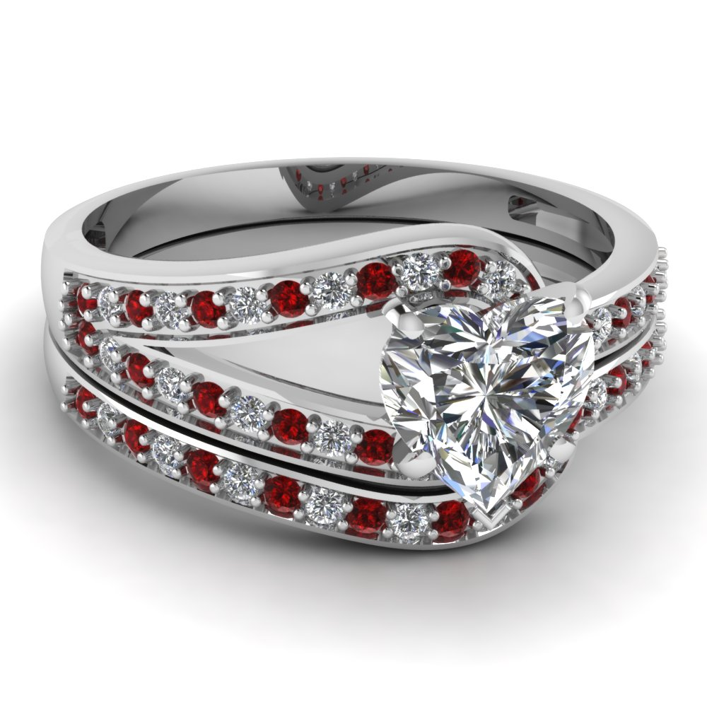 Heart Shaped Diamond Wedding Sets With Red Ruby In 14k White Gold Diamond L