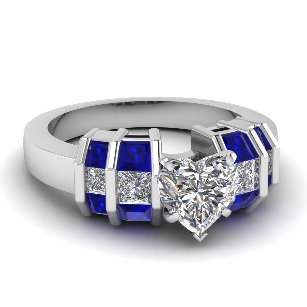 Channel Bar Set Heart Engagement Ring