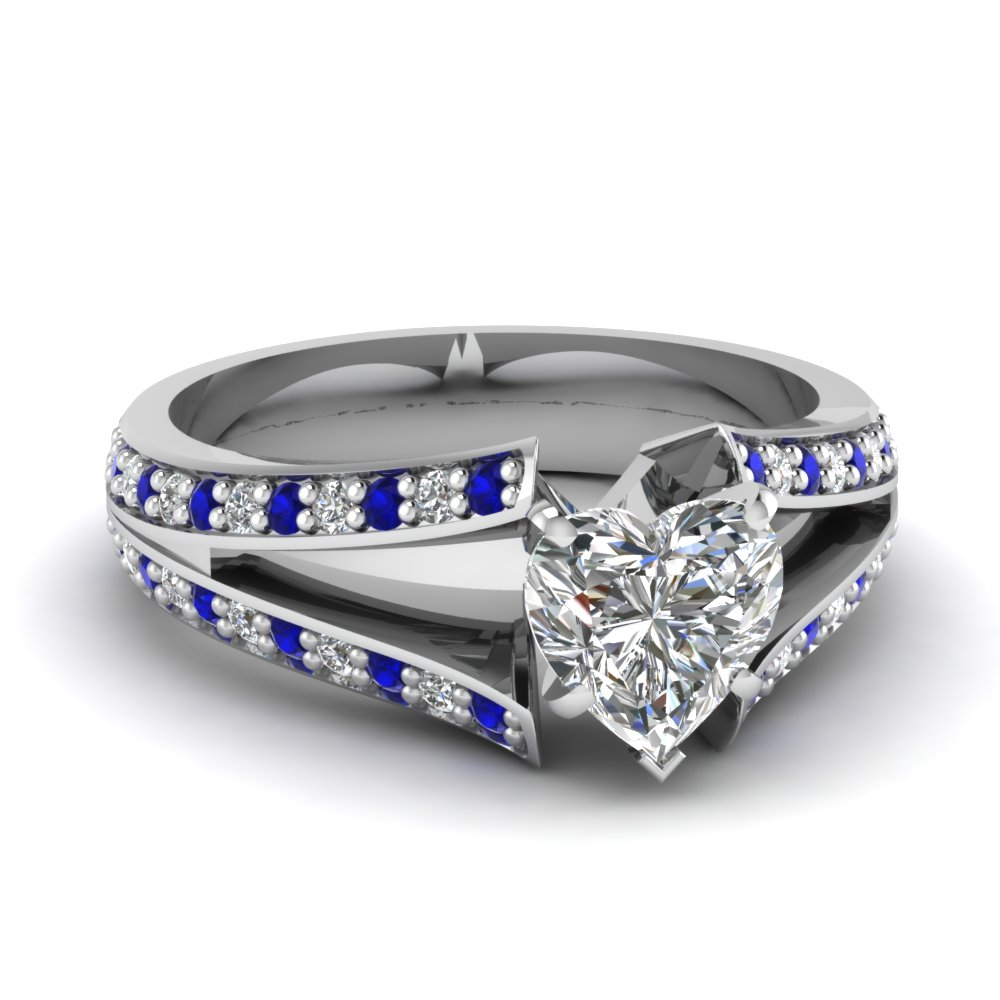Split Shank Pave Heart Shaped Blue and White Engagement Ring