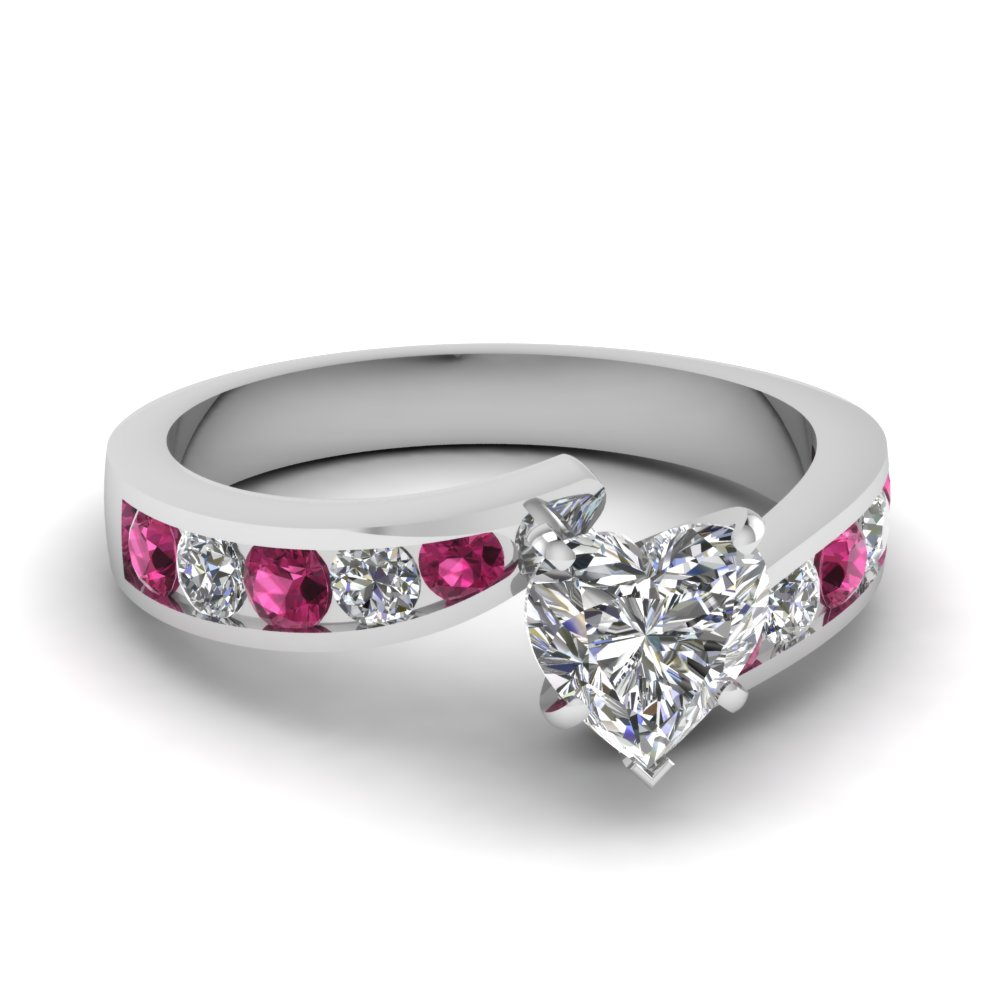 Twisted Pink Sapphire Side Stone Engagement Rings