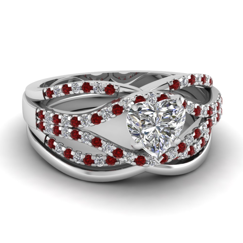crossover ring fascinating diamonds With ruby wedding ring set