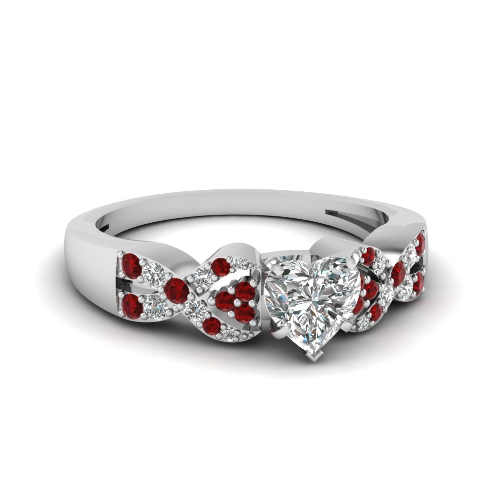 Heart Shaped Diamond And Ruby Engagement Ring In White Gold