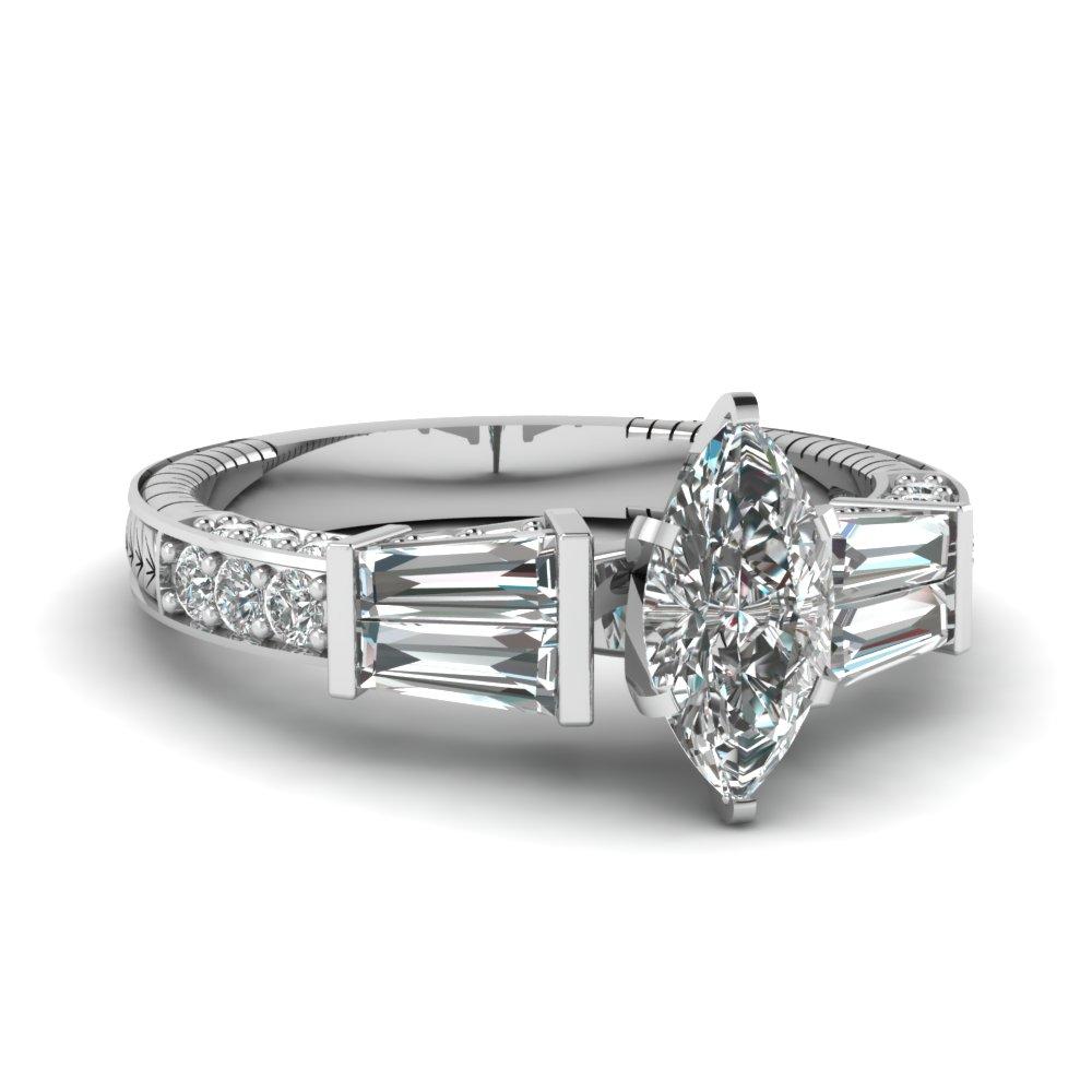white gold marquise wedding ring