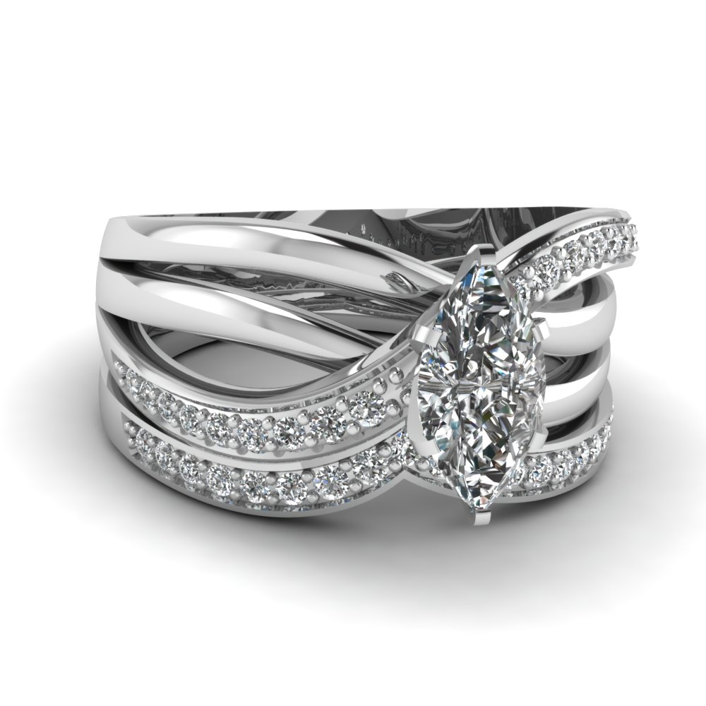 Big interwoven diamond wedding Sets