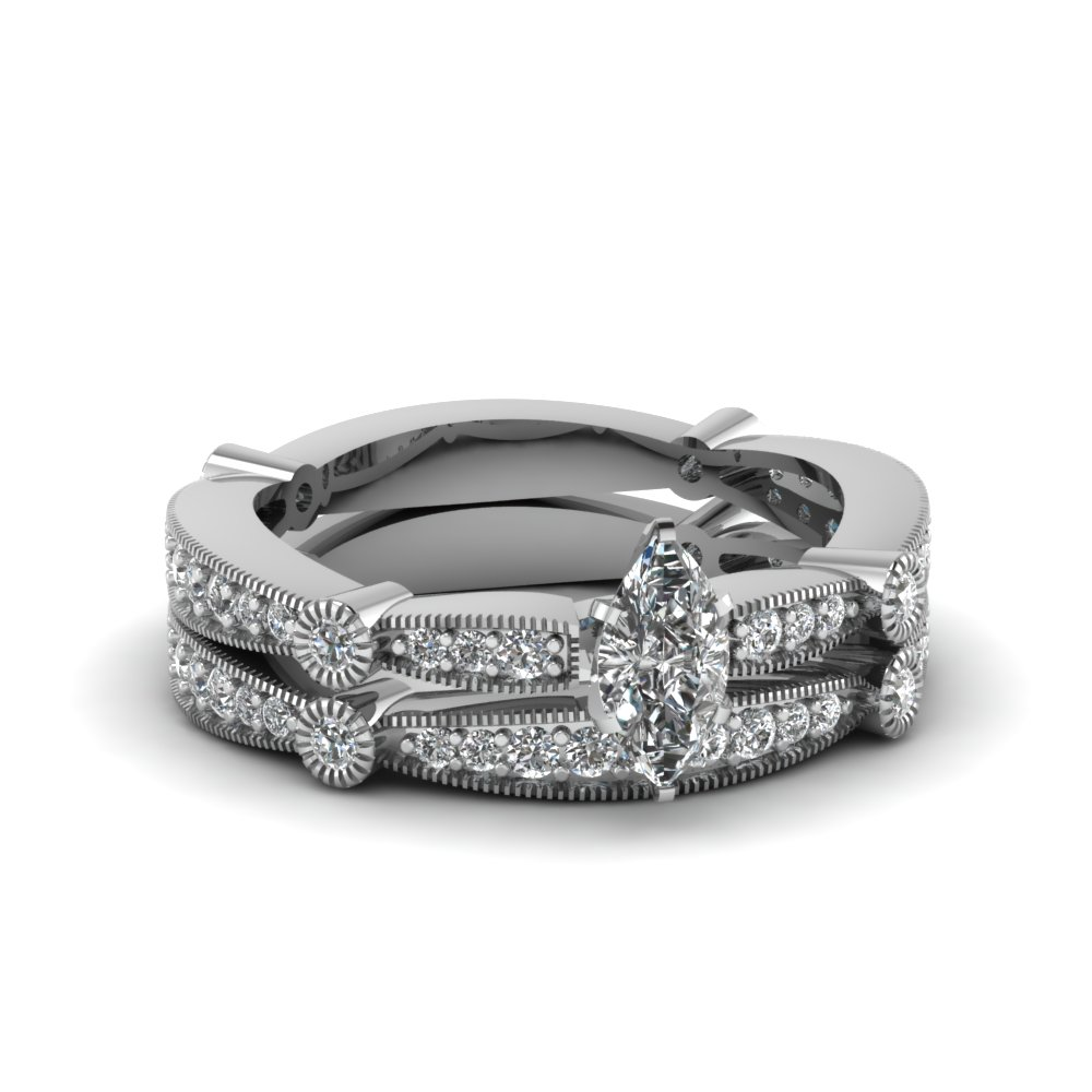 Tapered Milgrain Set Fascinating Diamonds