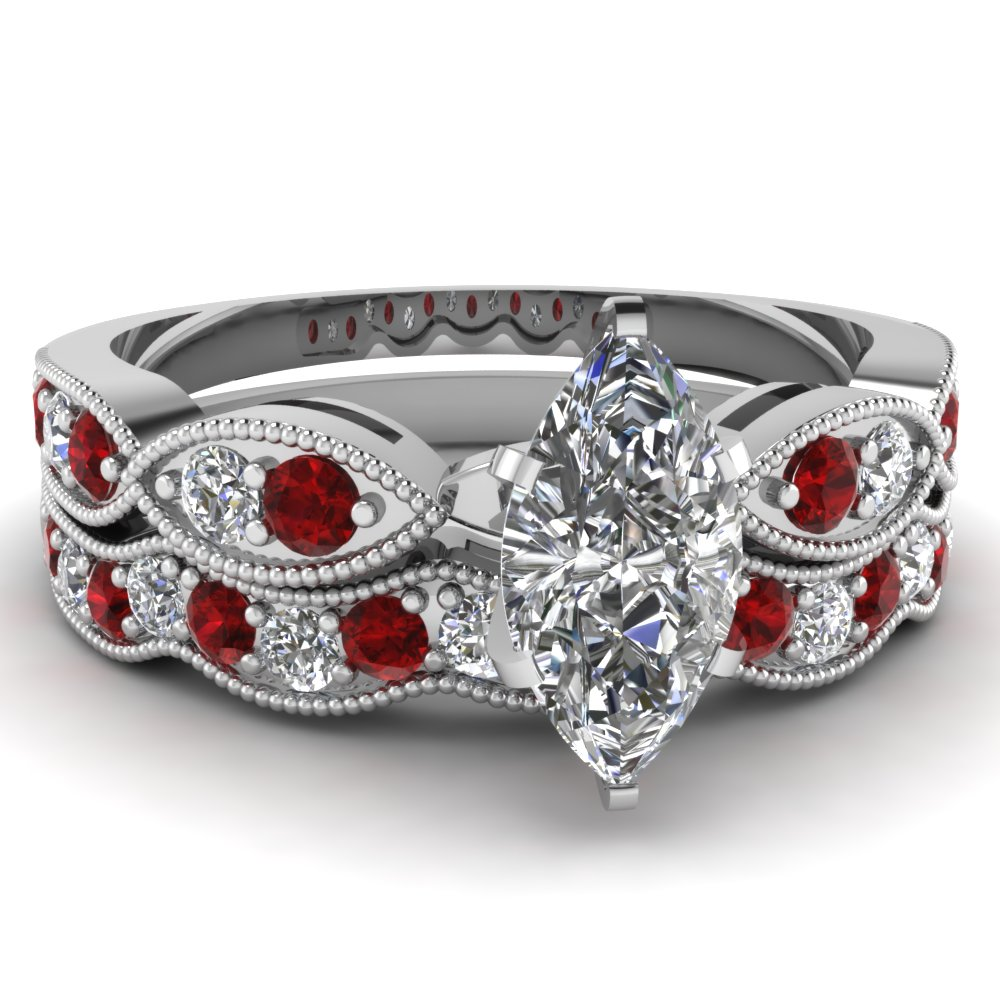 Marquise Shaped Diamond Wedding Sets With Red Ruby In 14k White Gold