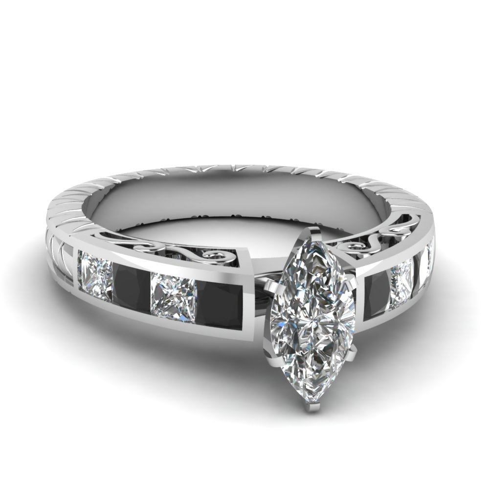 Stunning Black Diamond Filigree Ring