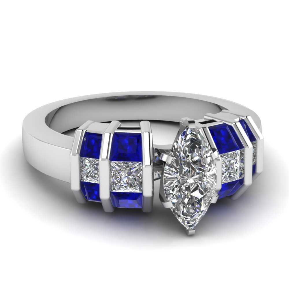 Sapphire And Marquise Shaped Diamond Side Stone Rings