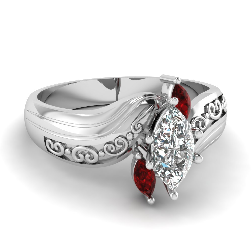 050f4afe2 marquise three diamond engagement ring with ruby in 950 Platinum  FD120176MQRGRUDR NL WG