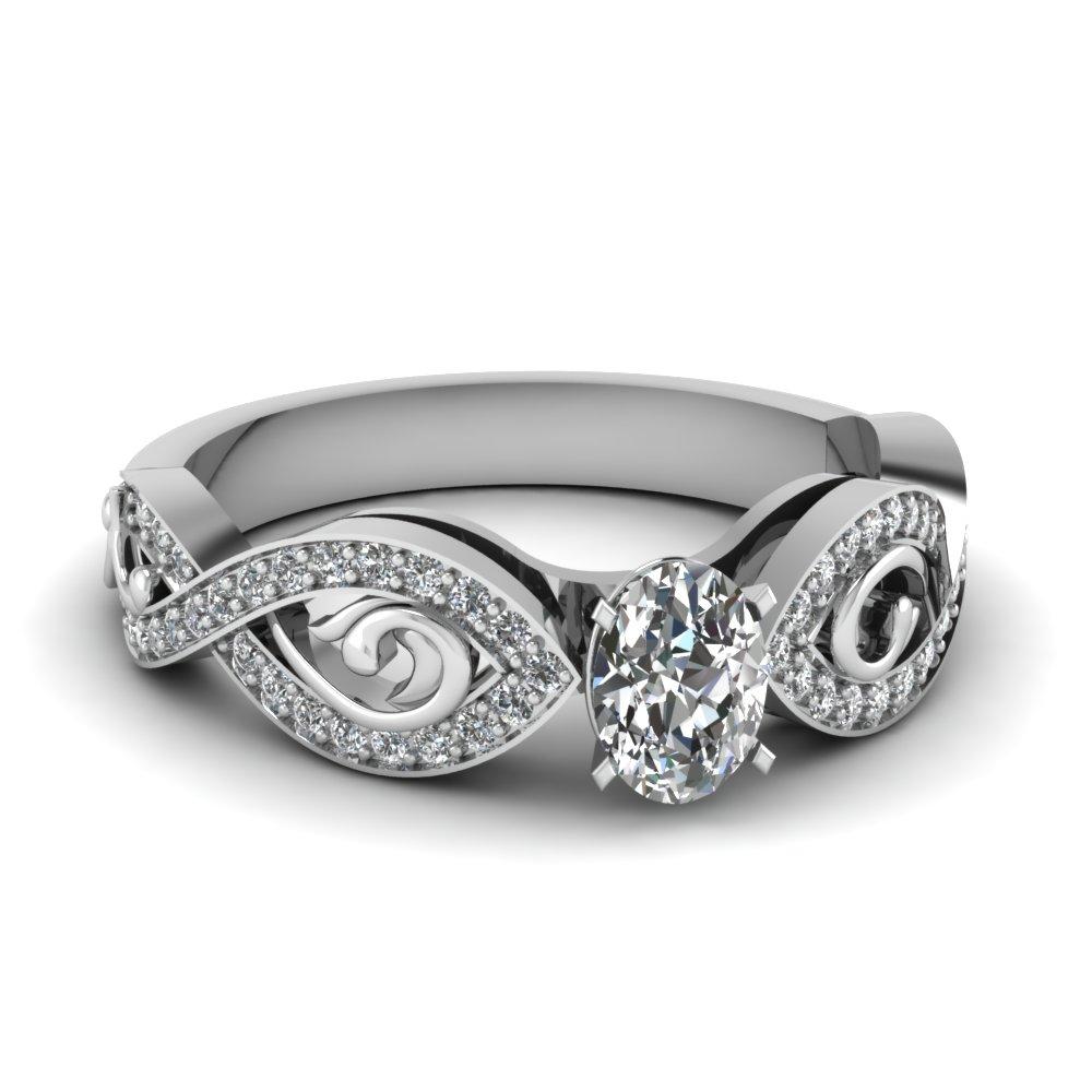 18k White Gold Oval Shaped Diamond Twist Ring