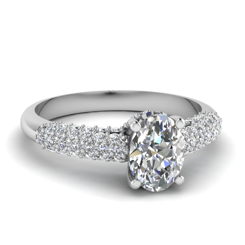 Oval Diamond Micropave Beautiful Platinum Engagement Ring