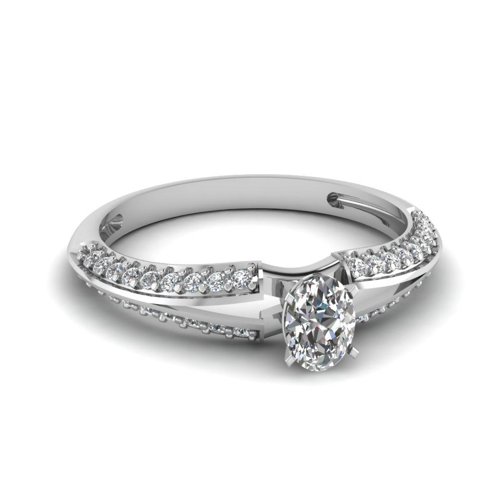 White Gold Oval Shape Diamond Engagement Ring