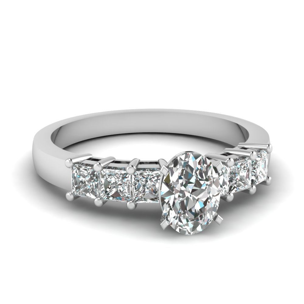 White Gold Engagement Ring With Oval Shaped Diamond