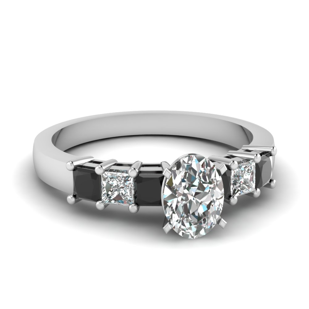 White Gold Oval Shaped Engagement Ring With Black Diamond