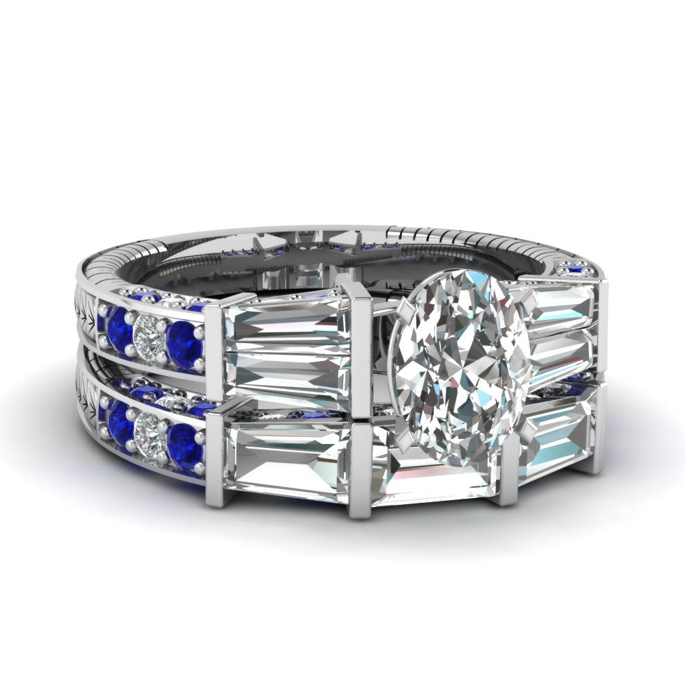 Big Oval Diamond Wedding Ring Sets