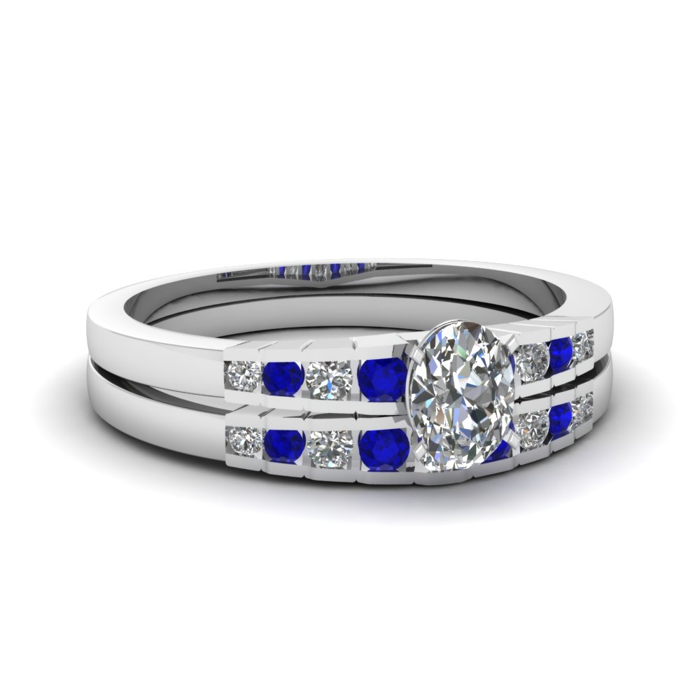 Oval Shaped diamond Wedding Ring Sets with Blue Sapphire in 14K White Gold