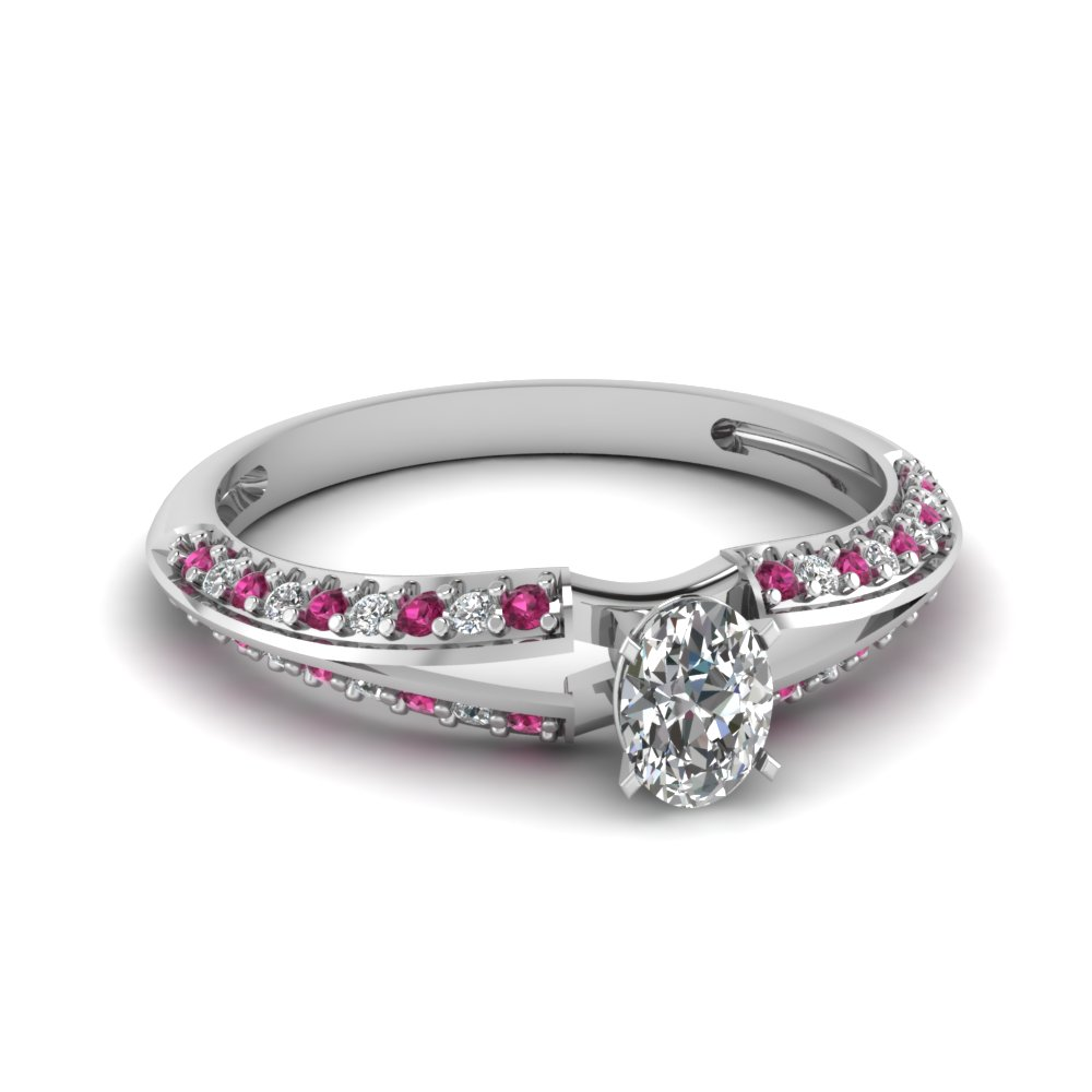 Pink Sapphire Pave Engagement Ring With Oval Shaped Diamond