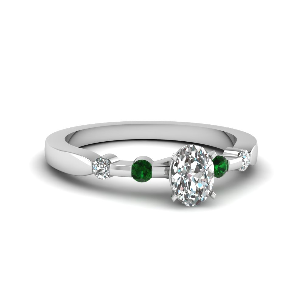 Emerald And Oval Diamond Bezel Engagement Ring