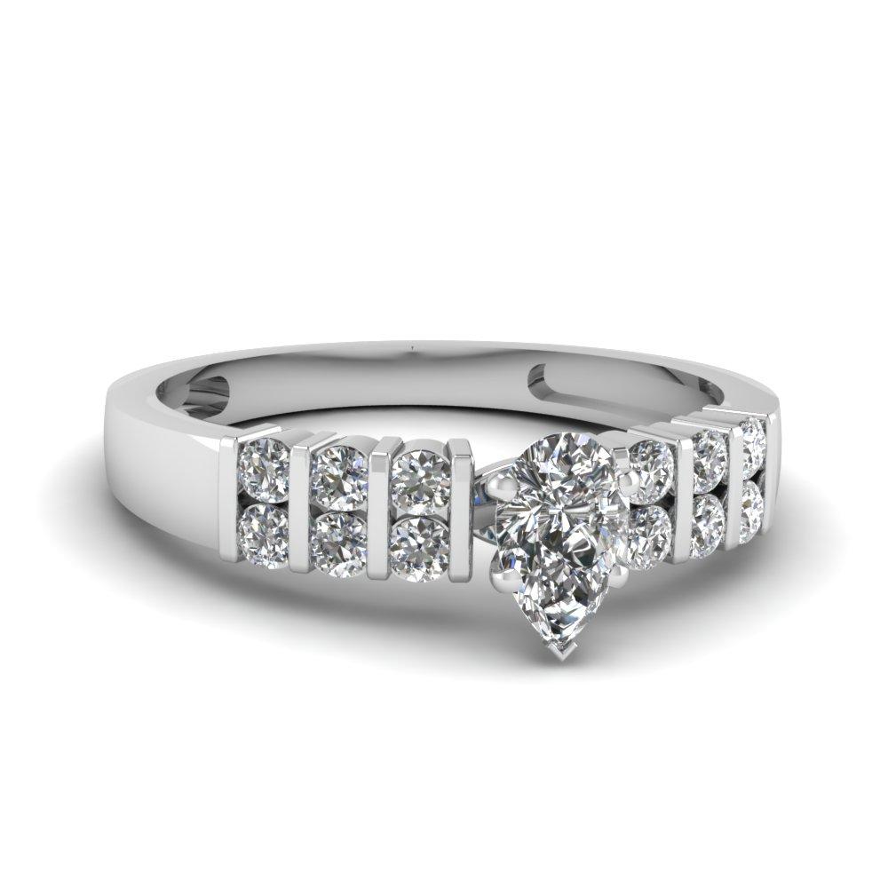 Side Stone Tear Drop Diamond Engagement Ring