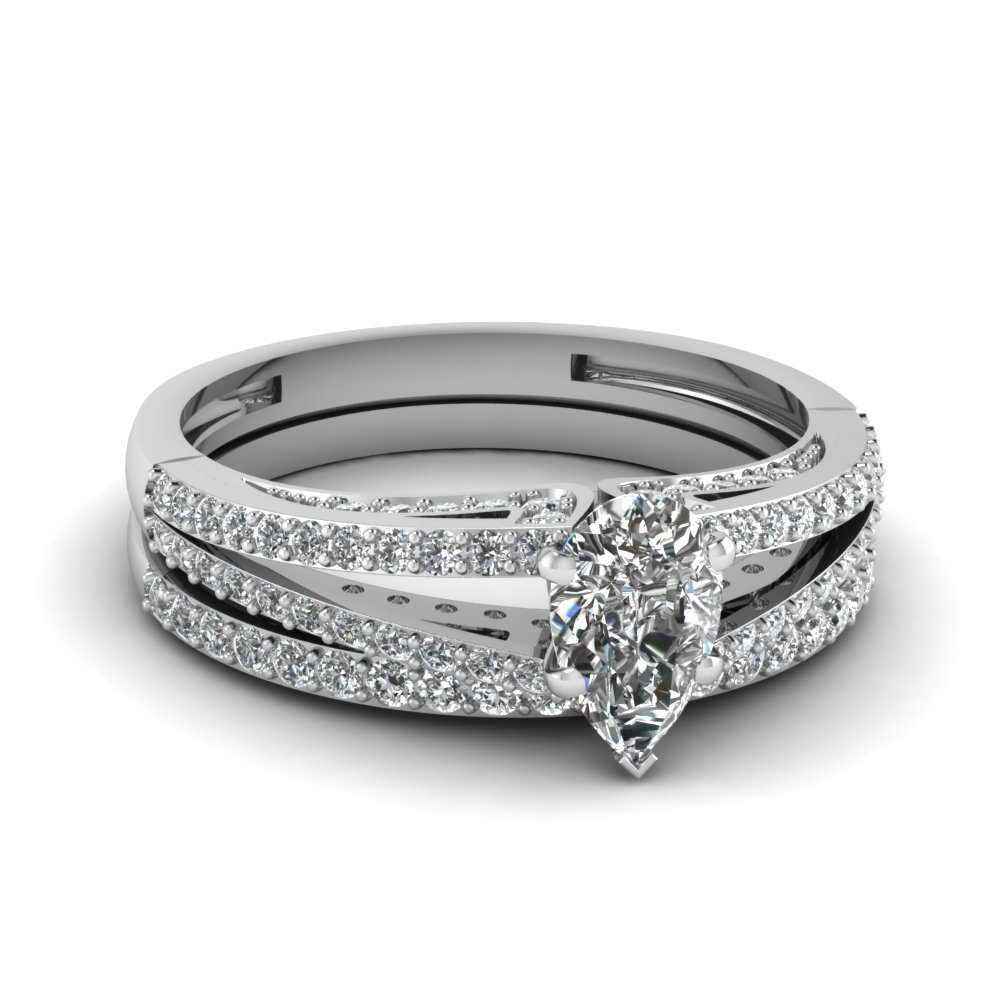 white gold pear white diamond engagement wedding ring in prong pave set FDENS