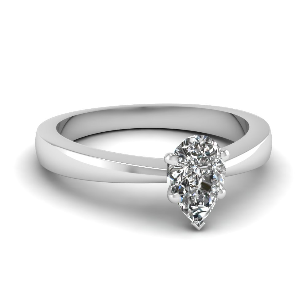 White Diamond Engagement Wedding Ring In Prong Set FDENR1282PER NL WG