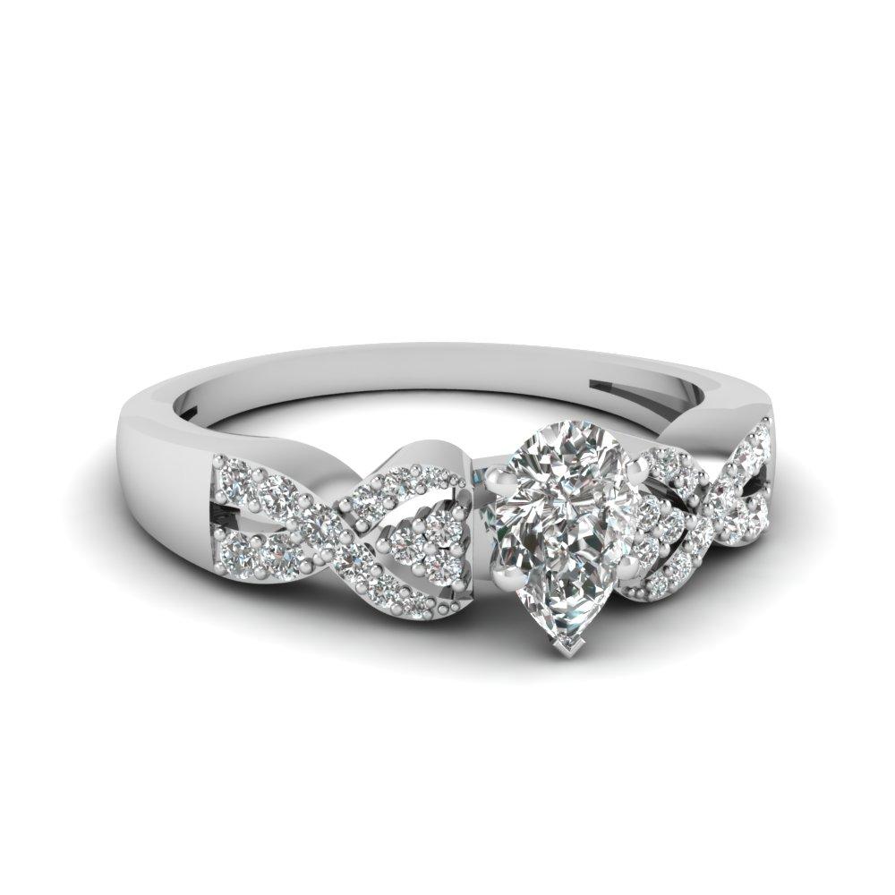 Pear Shaped Interlocked Diamond Engagement Ring In Platinum