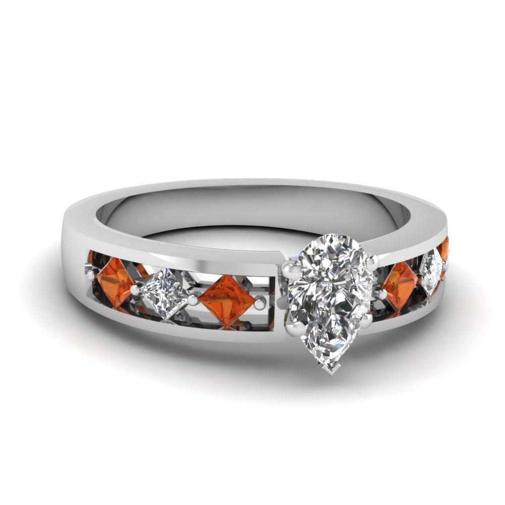 Natural Orange Sapphire Ring