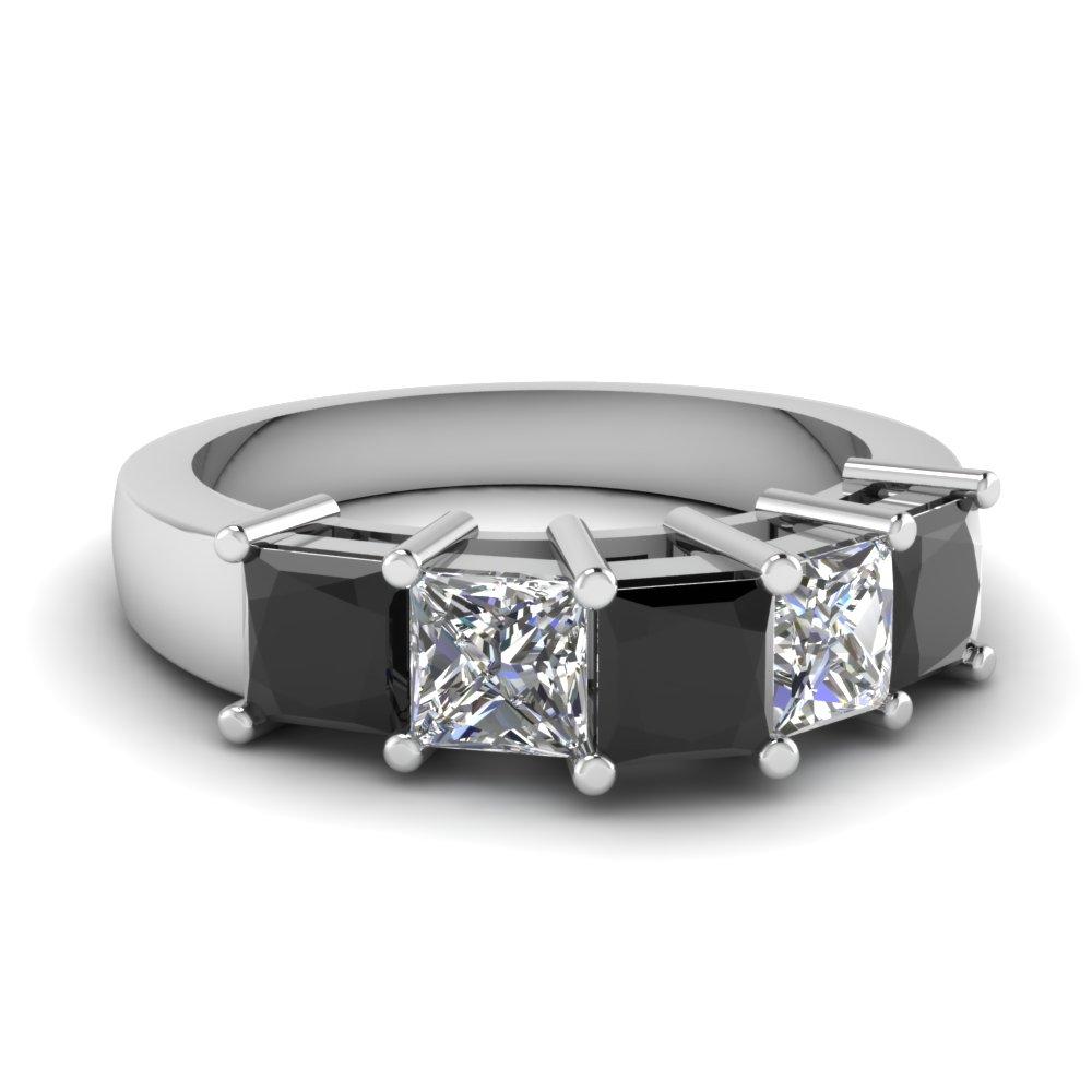 Princess Cut 5 Stone Mothers Ring Band