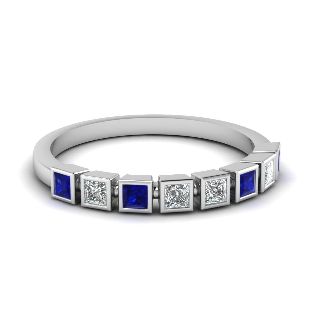 Sterling Silver Wedding Band In Blue Sapphire Bezel Brilliance Band