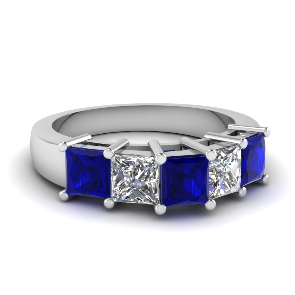 5 Princess Cut Diamond And Sapphire Wedding Band in White Gold