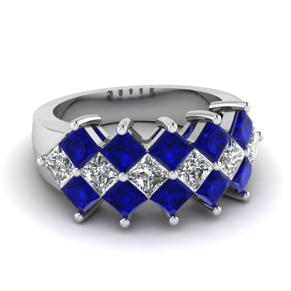 Wide Band with Princess Cut Sapphire And Diamond in White Gold
