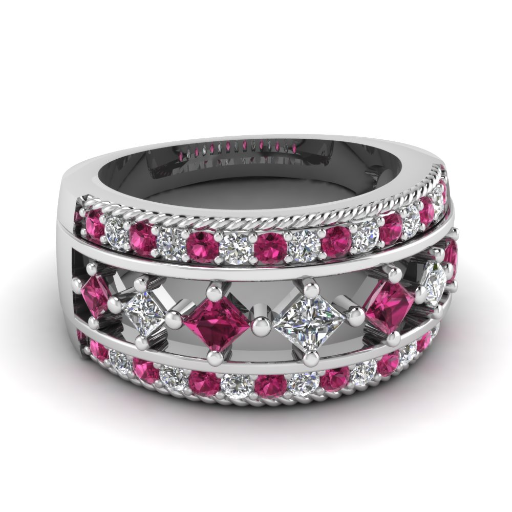 2 sapphire wedding band French 14K White Gold Three Stone White and Blue Sapphire Black Diamond Wedding Ring Engagement