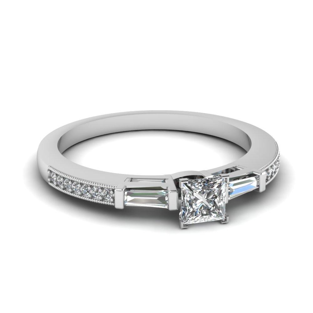 Cheap Baguette Milgrain Diamond Wedding Ring