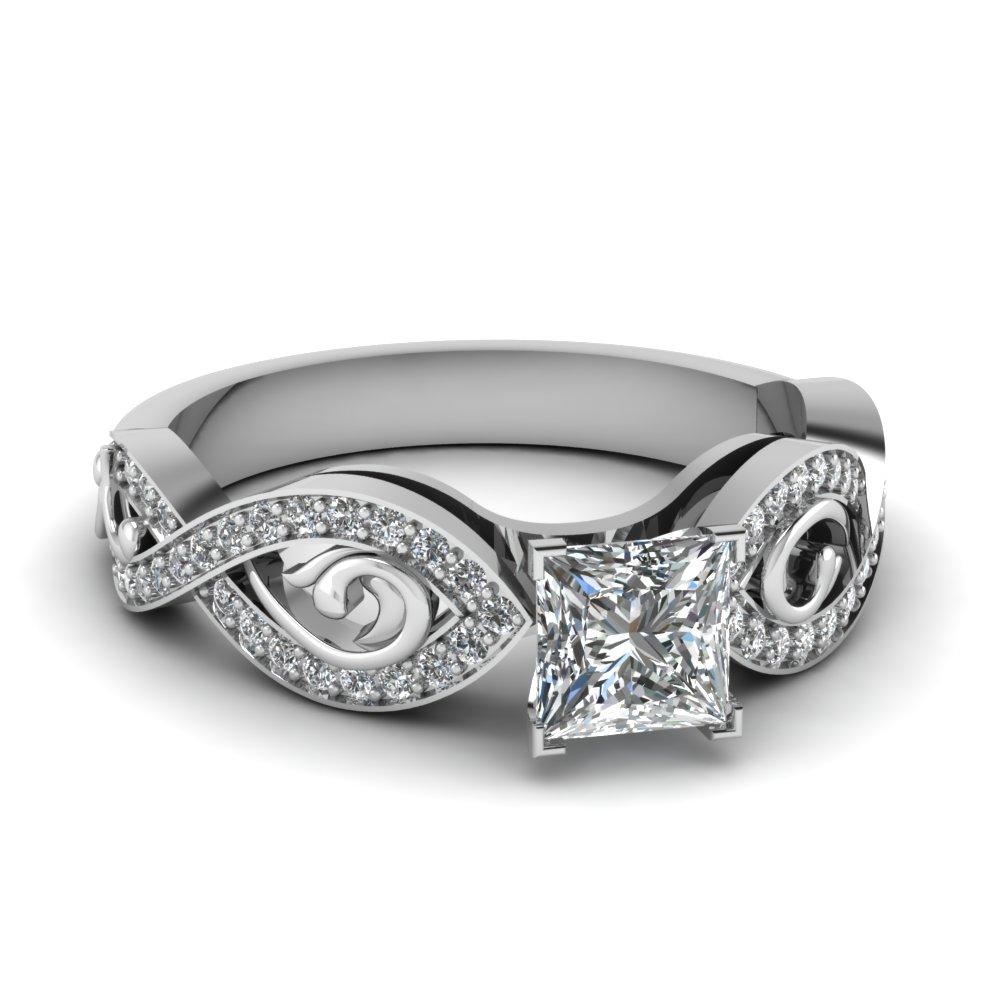 Certified Platinum Princess Cut Diamond Ring