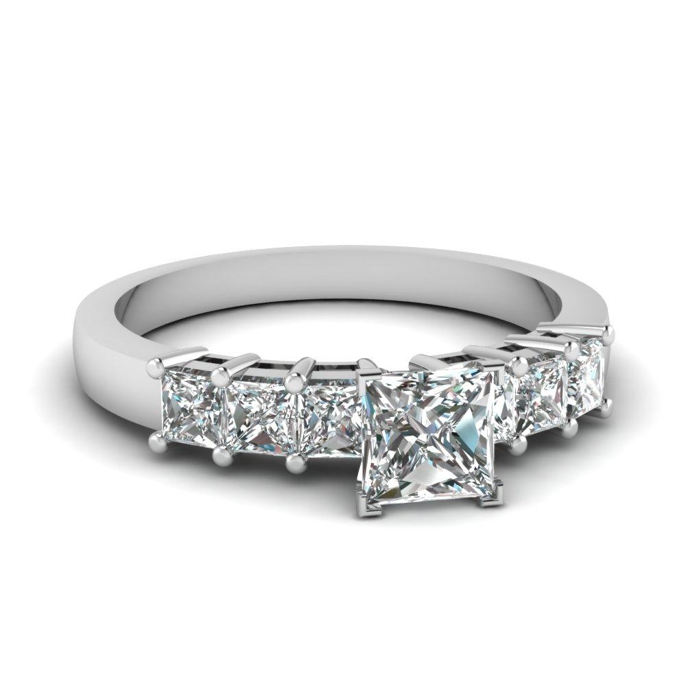 7 Princess Cut Diamond In Platinum Sparkle Engagement Ring