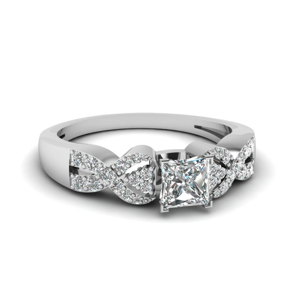 Princess Cut Diamond In White Gold Twist Enagement Ring