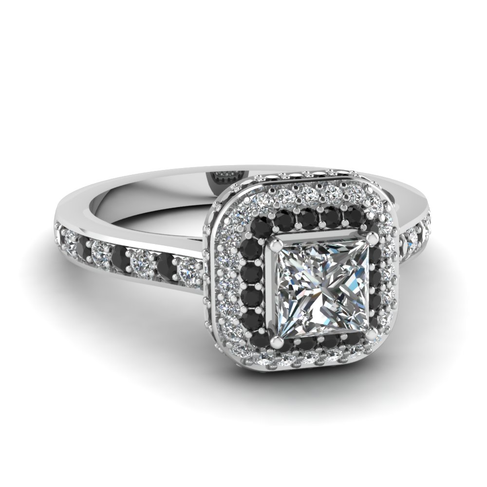 princess cut square double halo engagement ring - Square Cut Wedding Rings