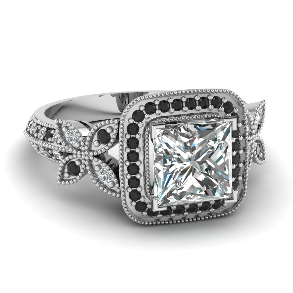 black diamond channel set ring 14k white gold black wedding ring sets Black Diamond Channel Set Wedding Ring in 14k White Gold 6mm