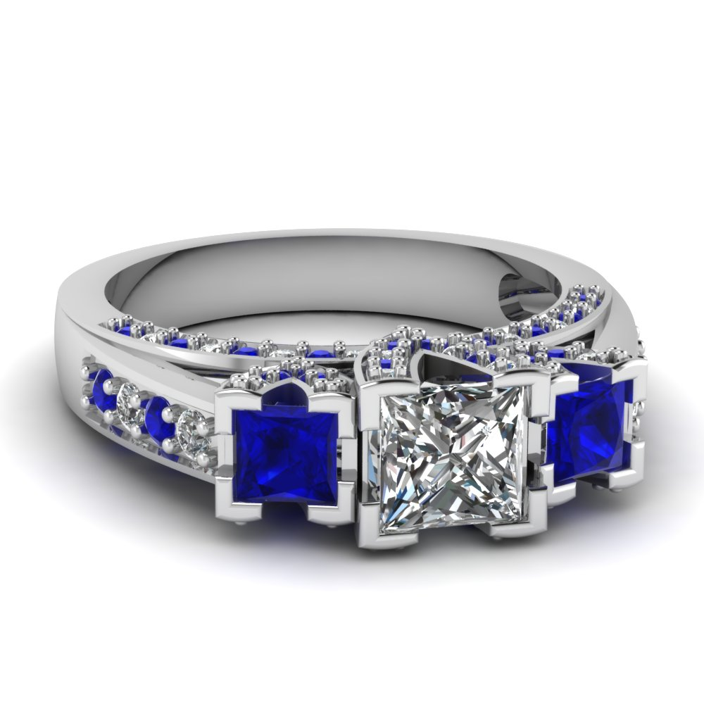 Princess Cut And Blue Sapphire Side Stone Engagement Ring