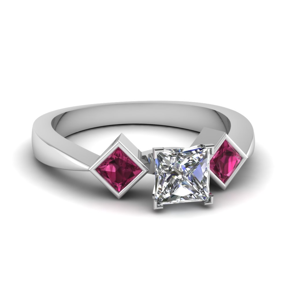Extraordinary styles of sapphire engagement rings for Princess cut pink diamond wedding rings