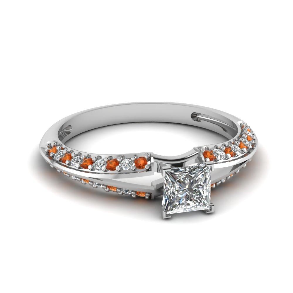 Princess Cut Diamond And Orange Sapphire Engagement Ring